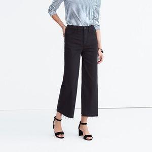 Madewell Wide Leg Crop Jeans True Black Drop Hem